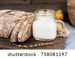 bread with berries and a glass... | Shutterstock . vector #758081197