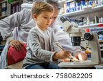 little science student cleaning ... | Shutterstock . vector #758082205