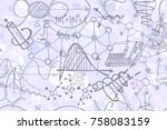 vector seamless pattern with... | Shutterstock .eps vector #758083159