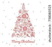 christmas tree decorated with... | Shutterstock .eps vector #758083525