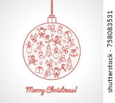 christmas ball decorated with... | Shutterstock .eps vector #758083531