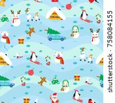 vintage christmas elements... | Shutterstock .eps vector #758084155