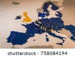 padlock over eu map ... | Shutterstock . vector #758084194