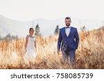 beautiful bride and groom in... | Shutterstock . vector #758085739