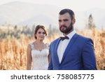 beautiful bride and groom in... | Shutterstock . vector #758085775