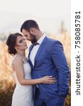beautiful bride and groom in... | Shutterstock . vector #758085781