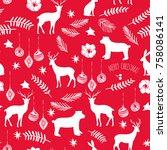 slogan merry christmas.... | Shutterstock .eps vector #758086141
