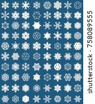 set of different snowflakes on... | Shutterstock .eps vector #758089555