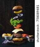 flying burger ingredients above ... | Shutterstock . vector #758089681