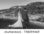 beautiful bride and groom... | Shutterstock . vector #758094469