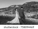 beautiful bride and groom... | Shutterstock . vector #758094469