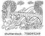 doodle drawing for coloring... | Shutterstock . vector #758095249
