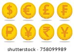 vector set of world currency... | Shutterstock .eps vector #758099989