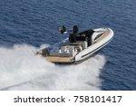 luxury motor boat  aerial view... | Shutterstock . vector #758101417