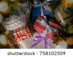 a lot of gift boxes. christmas... | Shutterstock . vector #758102509