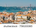 aerial view of downtown lisbon... | Shutterstock . vector #758103385
