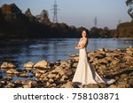 beautiful bride portrait ... | Shutterstock . vector #758103871