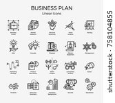 cool vector set of 20 business... | Shutterstock .eps vector #758104855