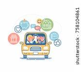 cool vector concept on car... | Shutterstock .eps vector #758104861