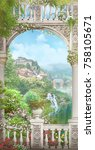white arch with a view of the... | Shutterstock . vector #758105671