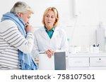 doctor talking to mature sick... | Shutterstock . vector #758107501