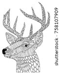 hand drawn deer. sketch for... | Shutterstock .eps vector #758107909