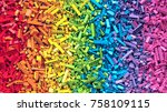 lot of colorful rainbow toy... | Shutterstock . vector #758109115