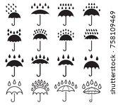 umbrella and rain drops icons.... | Shutterstock .eps vector #758109469