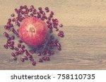 ripe pomegranate and... | Shutterstock . vector #758110735