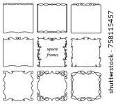 vector set of square frames in... | Shutterstock .eps vector #758115457