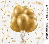 golden balloons bundle  and... | Shutterstock .eps vector #758116675