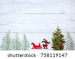 christmas wooden background... | Shutterstock . vector #758119147