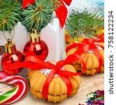 christmas background  cake ... | Shutterstock . vector #758122234