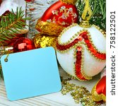 christmas decoration  pine twig ... | Shutterstock . vector #758122501