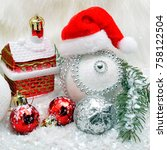 christmas background with snow  ... | Shutterstock . vector #758122504
