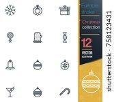 christmas editable stroke... | Shutterstock .eps vector #758123431