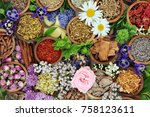 natural alternative herbal... | Shutterstock . vector #758123611