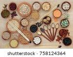 macrobiotic diet healthy food ... | Shutterstock . vector #758124364