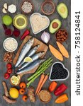 super food for a healthy heart... | Shutterstock . vector #758124841