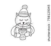 funny cat. nursery art.... | Shutterstock .eps vector #758125045