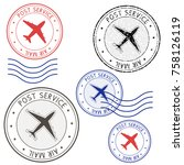 post service airmail colored... | Shutterstock . vector #758126119