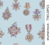 seamless pattern with antique... | Shutterstock .eps vector #758128921