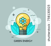 light bulb with blooming flower ...   Shutterstock .eps vector #758130025
