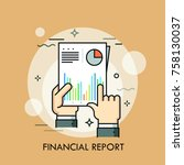 human hands holding paper... | Shutterstock .eps vector #758130037