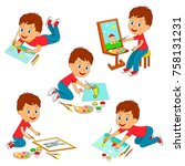 kids boy drawing collection... | Shutterstock .eps vector #758131231