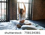 sleepy lady in t shirt and... | Shutterstock . vector #758134381