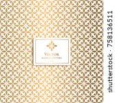 golden geometric pattern.... | Shutterstock .eps vector #758136511