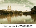 central park spring with... | Shutterstock . vector #758139025