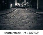 tram track in street in milan ... | Shutterstock . vector #758139769