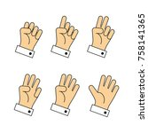 counting hands sign from zero... | Shutterstock .eps vector #758141365